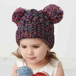 Kids boys girls confetti knitted winter hat two POM POM beanies slouchy warm knit skull caps solid color cute bear head cuff hats outdoor