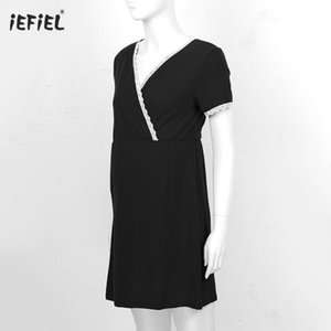 Maternity Dresses For Pregnant Fashion Casual V Neck Short Sleeve Nursing Dress Lace Trimming Pleated Nightgown Breastfeeding