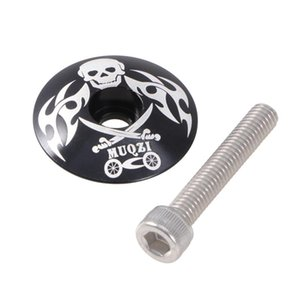 Bike Handlebars &Components 28.6mm Pirate Pattern General Aluminum Alloy Headset Screw For Mountain Highway Bicycle(Black)