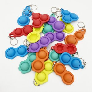 Bubble Push Pop Llavero Kids Adultos Novela Fidget Toy Bag Bolsa Colgantes Llaveros Colgadores Squeeze suave Anillo de llavero de silicona G32501