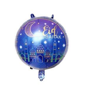 18 pollici rotondo Eid Mubarak Foil Balloons HAJJ MUBARAK Decorazioni Star Moon Helium Balloon Ramadan Kareem Eid Al-Fitr fornisce 528 V2