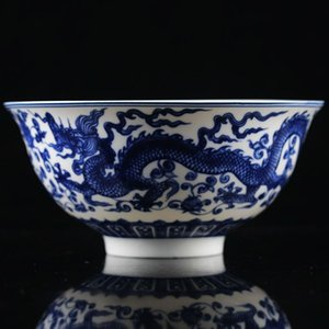 CHINESE BLUE & WHITE PORCELAIN HAND PAINTED DRAGON PATTERN BOWL W QIANLONG MARK >>&gtFree shipping