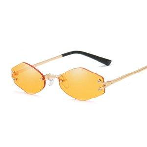 Vintage Rimless Brand Designer Hexagonal Sunglasses Women Men Retro Driving Mirror Sun Glasses Female Male