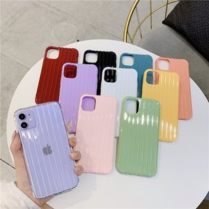 Striped Luggage Cell Phone Cases for iphone 12 pro max mini 11 TPU Soft Material Anti-fall Protective Case 10 Colors