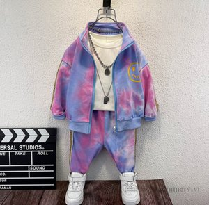 Fashion kids tie-dye clothing sets girls letter smiling face printed long sleeve outwear+trouser 2pcs autumn children sports casual outfits Q2263
