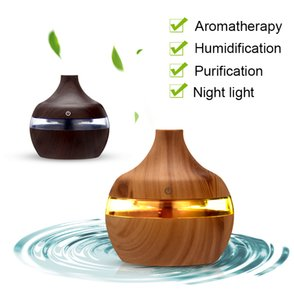 300ml Aroma Essential Oil Diffuser Ultrasonic Cool Mist Humidifier Air Purifier 7 Color Change LED Night light Wood Grain for Office Home Car