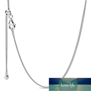 Original Rose Gold Curb Sliding Clasp Chain Adjust Basic Necklace For 925 Sterling Silver Bead Charm Bracelet Europe Jewelry Factory price expert design