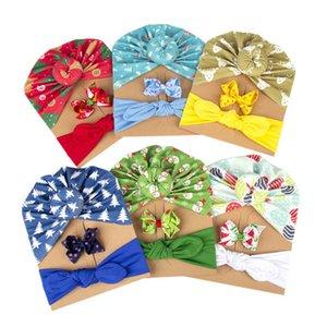 Girls Hair Accessories Christmas Baby Headbands Ribbons Bows Kids Barrettes BB Clip Newborn Hats Printed Infant Caps 3Pcs sets B8212