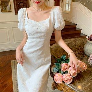 French Retro Long Fairy Dress Women White Sexy V-Neck Female Puff Sleeve Elegant Dress 2021 Summer Ladies Wedding Party Clothes