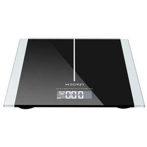 Leadzm 180kg 6 mm de espesor delgado patrón de cintura conveniente escala personal de pesaje negro negro vidrio endurecido preciso peso medidas-gt