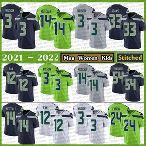 Cousu 14 dk mécalf 3 Russell Wilson Football Jerseys 24 Marshawn Lynch 33 Jamal Adams 54 Bobby Wagner 16 Tyler Lockett 12s Fan 32 Carson Seattle