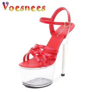 Voesnees Tamaño 43 Super High Heel Peep Toe Cross Cross Bellas Mujeres 17cm Sandalias Sandalias Discotecas Sexy Transparente