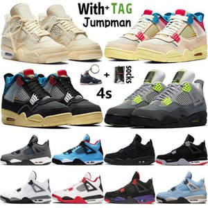 2021 Top Quality High Jumpman OG 4 4s Mens Basketball Shoes University Blue Analyzes Sail Black Cat Raptors Women Sneakers Trainers Size 36-47