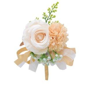 Corsage de poignet de fleurs Boutonniere bracelet à la main rouge rose rose artificielle pivoine rose corsages de mariage de mariage de mariée décor gwe5373