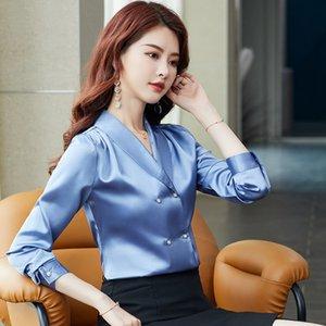 Korean Fashion Button Up Shirt 2021 Designer Glossy Satin Long Sleeve Streetside Cafe V Neck Elegant Blouses Spring Autumn Winter High-End Business Office Sweet Tops