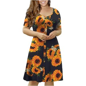 Casual Dresses 2021 Sexy Ladies Fashion Women's Summer Short Sleeve O-neck Dress Mini Printed Plus Size Rroba Zonjash Seksi