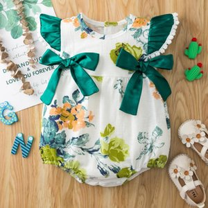 0-18Months Born Infant Baby Girls Sleeveless Floral Bow Romper Bodysuit Clothes Boxpakje Leisure Style Beach Crawl M4 Rompers
