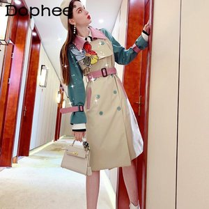 Women's Trench Coats Fashion Coat Women 2021 Autumn Winter Clothes Single-Breasted Embroidered Flower Belt Waist Mid-Length OverCoat Windbre