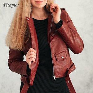 Fitaylor Spring Осень Женщины Искусственная мягкая Кожаная Куртка С Длинным Рукавом Розовый Черный Байкер Пальто на молнии Дизайн Мотоцикл PU Красный