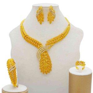 Takı Setleri 2021 Moda Afrika Dubai Altın Gelin Kadınlar Için Bilezik Küpe Nijerya Düğün Parti Kristal Yüzük