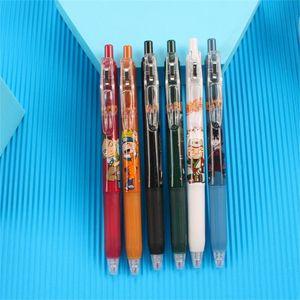Gel Pens 6PCS Set Cartoon Anime Press Pen Japanese PenBlack 0.5MM Student School Supplies Office Stationery