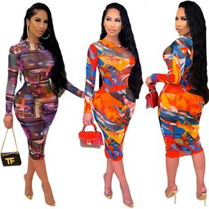 Aesthetic Print Streetwear Bandage Dresses Women Sexy Body-shaping Long Sleeve Party Dress Spring Autumn Slim Fit Pencil Robe
