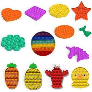 be well received home,garden Push Popit Bubble Sensory Fidget Toy Autism Squishy Stress Reliever Toys Adult Kid Unicorn Pop it Fidget Toys