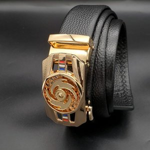 Fashion net celebrity belt head layer cowhide trend business style factory wholesale and retail big gold buckle luxury brand gift box