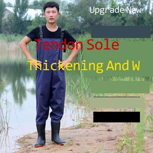 WadingWater Rain Shoes Suit One-piece Thickened Leather Fork Wading Fishing Waterproof Tactical Pants Airsoft Male Hunting