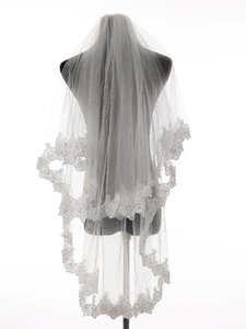 Bridal Veils High Quality Ivory White Lace Edge Two Layers Wedding Accessories Tulle With Comb