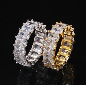 Hip Hip Sigle Row Iced Out 360 Eternity Gold Bling Rings Micro Pave Cubic Zirconia 14K Gold Plated Hip hop Ring with gift box