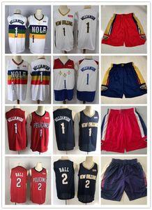 "Mens New Orleans ""Pelicans"" Rembeback Jersey Zion 1 Williamson Lonzo 2 мяч Баскетбол Шорты баскетбола фиолетовый белый красный"