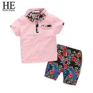 Hola, Hola, Kids Boys Ropa Boy Ropa de verano Conjuntos Mangas cortas Imprimir Tops Camisa + Pantalones cortos de flores Trajes para niños Ropa para niños 210326