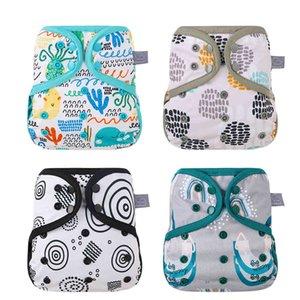 Elinfant 1 ADET Bezi Kapak Boy Bez Yıkanabilir Bez Yeni Nefis Baskı Desen Su Geçirmez Bebek Nappies Fit 10 - 20kg Bebek 210320