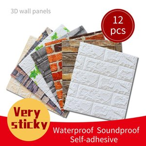 Wallpapers 12PCS 3D Wall Panel Home Decoration Self-Adhesive Panels Wallpaper Waterproof Stickers Decorative