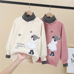 Hoodies & Sweatshirts Girls' Kids Underwear 2021 Soft Plus Velvet Thicken Warm Winter Autumn Cotton Tops Fleece Children's Clothin