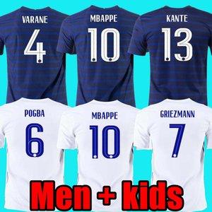 Maillots de Football 2020 2021 France Mbappe Grizmann Pogba 20 21 كرة القدم جيرسي مايلوت دي فوت فاكير بافارد كرة القدم كيت الأعلى قميص هوم