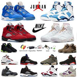 Air Jordan 6 retro 5 mens basketball shoes Jumpman 6s UNC 5s Bluebird University Blue British Khaki Electric Green Raging Bull Gold Hoops men sports sneakers With Box