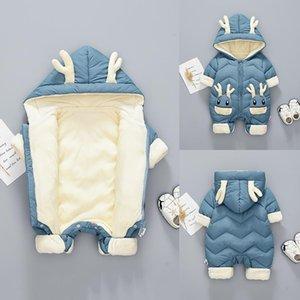 Abrigo abajo 2021 Baby Winter Snowsuit más terciopelo grueso niños mono 0-2 años Nacido Ramper Girls Monos Niños