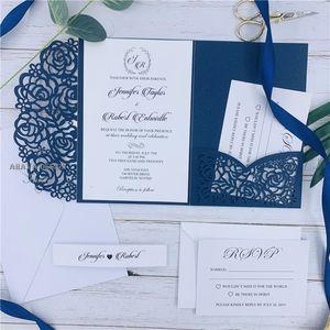 Blank inner sheet Navy Blue Laser Cut Pocket Wedding Invitation Suites Customizable Invites With Envelope