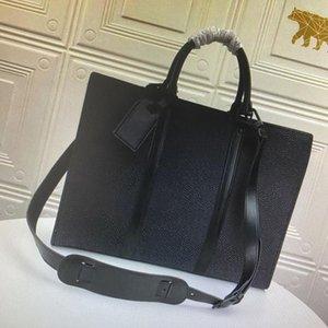 Aktenkoffer Business Crossbody Handtasche Mode Männer Umhängetasche Interieur Schlitz Tasche Weiche Griff Leinwand Leder Laptop Computer Taschen
