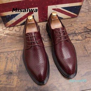 Misalwa vermelho britânico casual homens oxford vestido sapato espessura sola broge casamento barbeiro sapatos tendência elegante escritório pu sapatos de couro1
