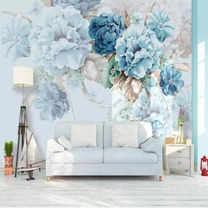 Custom Wallpaper Nordic Style Hand-painted Peony Floral Pastoral Mural Living Room TV Background Wall Painting Papel De Parede Wallpapers
