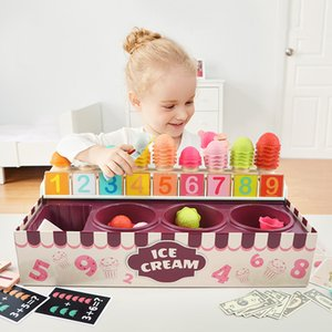 Kitchens Ice Cream Toy Set Digital Learning Cognitive Matching Puzzle Pretend Play Food Shop Toys for Baby