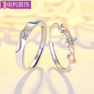 Live 925 Sterling Silber Liebhaber Herren Koreanische Galvanik Rose Gold Angel Wing Ring