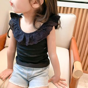 Vest Summer Kids Fashion Lacework Collar Sleeveless Tops Cute Girls Cotton 3 Colors All-match Vests 1-6Y