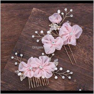 Vintage Women Elegant Pink Flower Handmade Hair Comb Hairpin Set Bridal Wedding Hair Jewelry Headband Accessories Pfntx Y74Tv