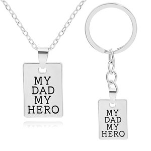 Fashion Necklaces & Pendants Lettering Key Rings Necklace My Dad Hero Silver Keychain Jewelry Father's Day Gift