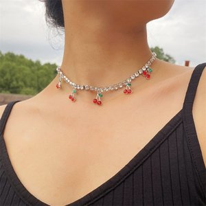 Yeni Tasarım Charm Rhinestone Kiraz Kolye Kolye Kadınlar için Bildirimi Tenis Zincir Gerdanlık Kristal Yaka Kız Hiphop Jewelry1 580 T2