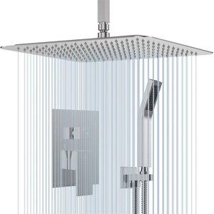 Потолочный набор для душа набор с 16-дюймовыми квадратными дождями, головки, портативным и краном